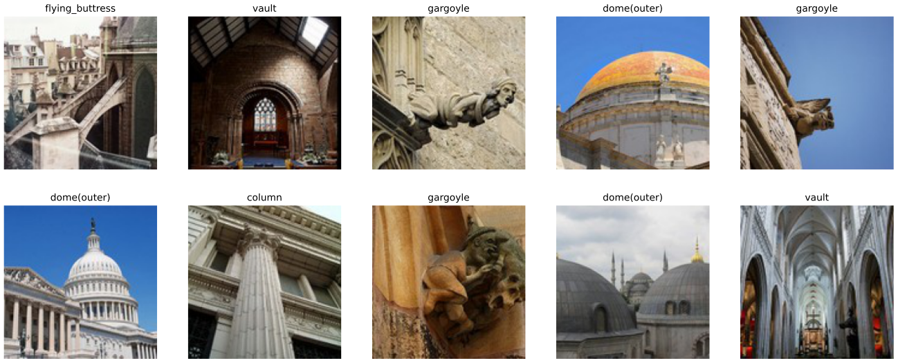 Ten images of architectural elements: vaults, gargoyles, domes, columns...