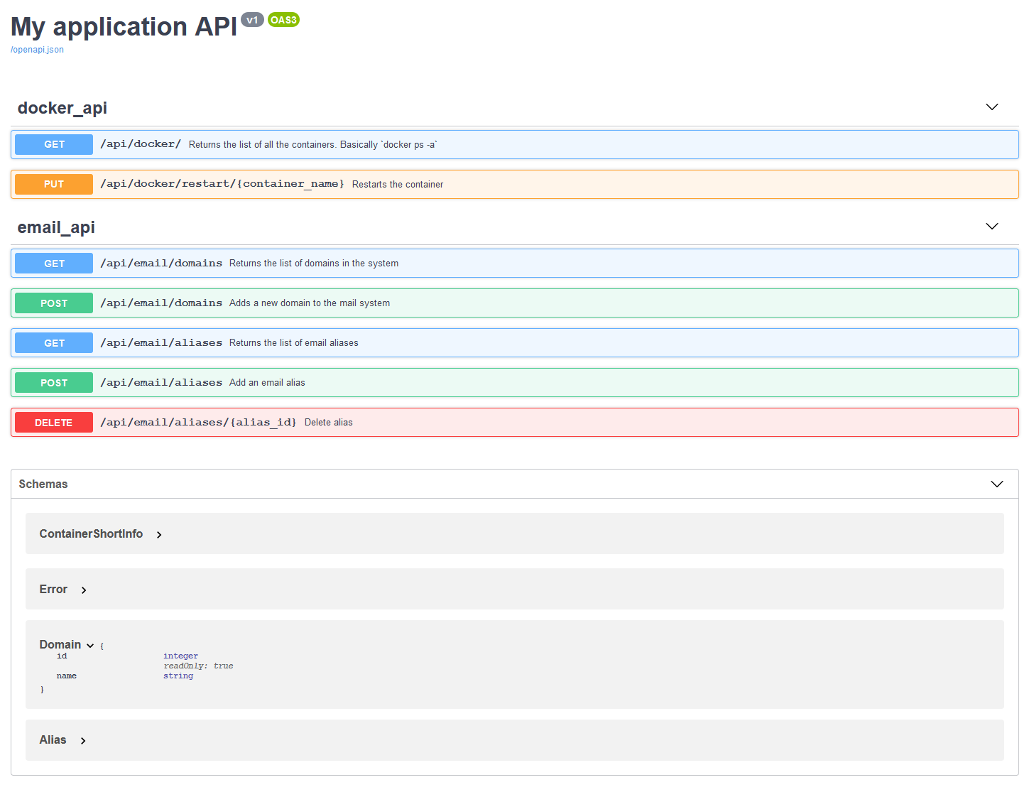 This image shows the open api / swagger user interface for the application. It contains a list of available routes, HTTP methods, description and allows you to call them from the front end.
